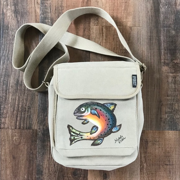 Men s Messenger Bag with Painted Rainbow Trout 3a9616a8b3755